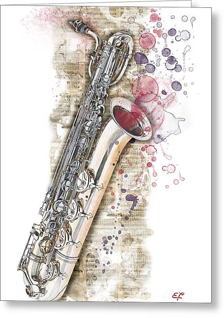 Watercolor Greeting Cards - Saxophone 01 - Elena Yakubovich Greeting Card by Elena Yakubovich