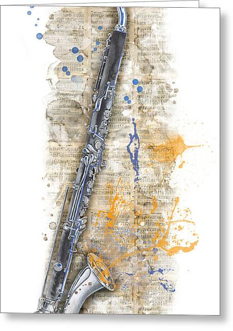 Watercolor Greeting Cards - Saxophone 03 - Elena Yakubovich Greeting Card by Elena Yakubovich
