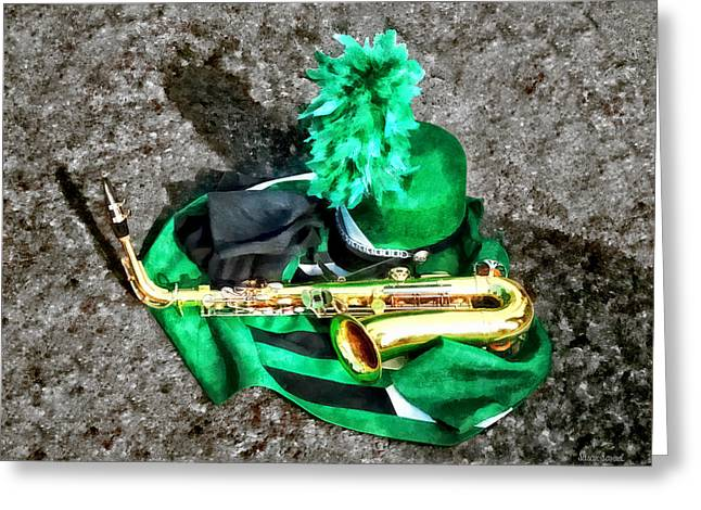 Wind Instrument Greeting Cards - Saxophone and Band Uniform Greeting Card by Susan Savad