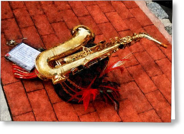 Brass Greeting Cards - Saxophone Before the Parade Greeting Card by Susan Savad