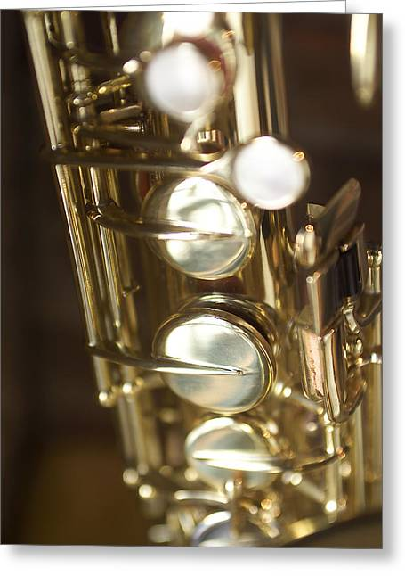 Saxophone Photographs Greeting Cards - Saxophone Close Up Greeting Card by Jon Neidert