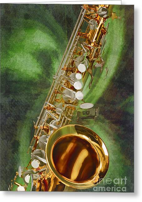 Saxophone Photographs Greeting Cards - Saxophone Instrument Painting Music  in Color 3253.02 Greeting Card by M K  Miller