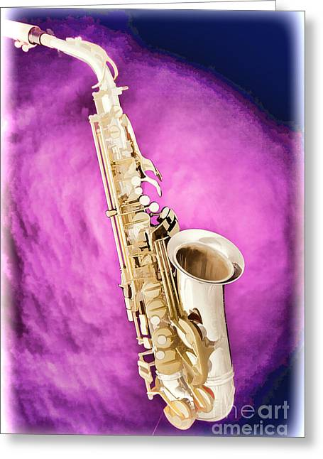 Saxophone Jazz Instrument Bell Painting In Color 3272.02 Greeting Card by M K  Miller
