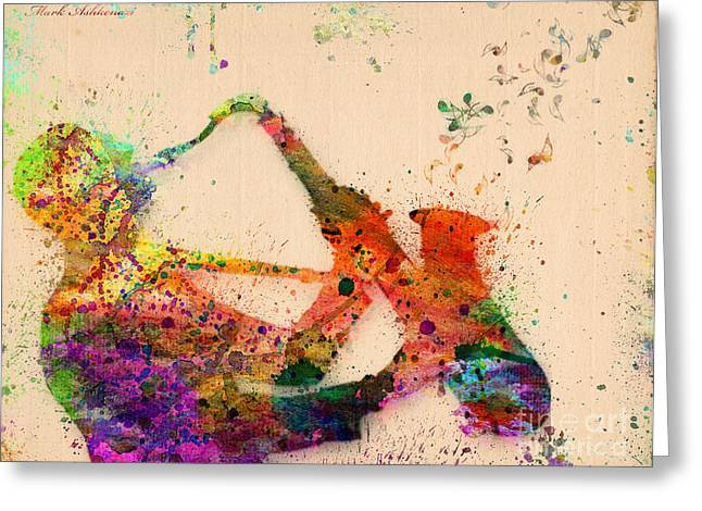 Saxophone  Greeting Card by Mark Ashkenazi