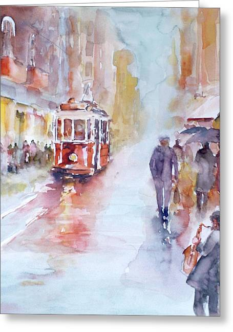 Tram Red Paintings Greeting Cards - Saxophone melodies on a rainy day in Beyoglu - Istanbul Greeting Card by Faruk Koksal