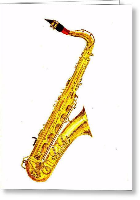 Saxophone Greeting Card by Michael Vigliotti