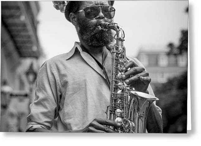 Saxophone Musician New Orleans Greeting Card by David Morefield