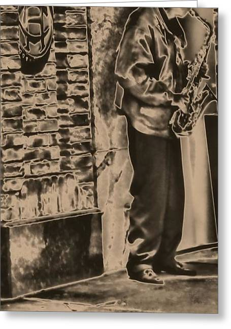 Saxophone Photographs Greeting Cards - Saxophone On The Street Greeting Card by Dan Sproul