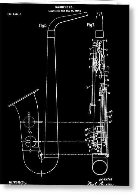 Noise . Sounds Digital Greeting Cards - Saxophone Patent Black And White Greeting Card by Dan Sproul
