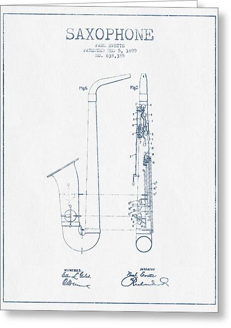 Saxophone Greeting Cards - Saxophone Patent Drawing From 1899 - Blue Ink Greeting Card by Aged Pixel