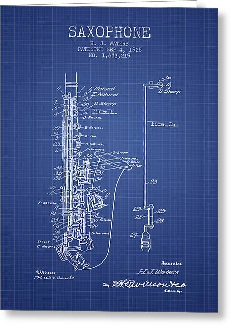 Saxophone Greeting Cards - Saxophone Patent From 1928 - Blueprint Greeting Card by Aged Pixel