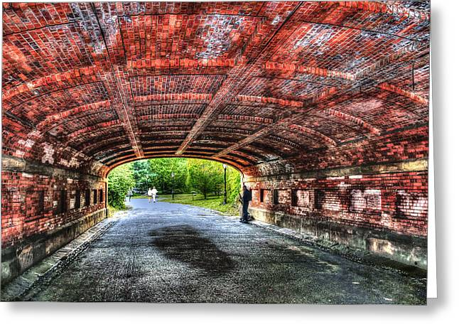 Saxophone Photographs Greeting Cards - Saxophone Player at Driprock Arch in Central Park Greeting Card by Randy Aveille