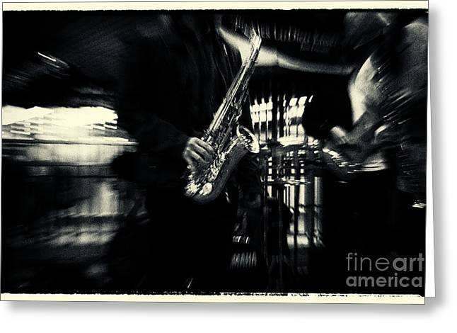 Filmnoir Greeting Cards - Saxophone Player in New York City Greeting Card by Sabine Jacobs