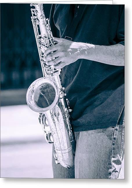 Playing Musical Instruments Greeting Cards - Saxophone Player on Street Greeting Card by Carolyn Marshall