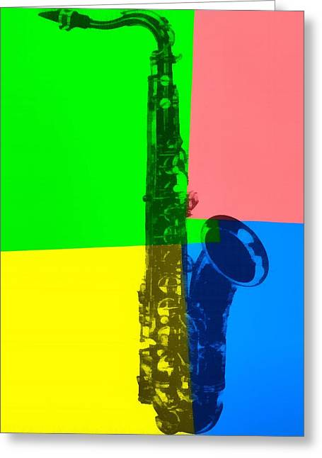 Motown Greeting Cards - Saxophone Pop Art Greeting Card by Dan Sproul