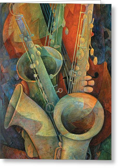 Bass Player Greeting Cards - Saxophones And Bass Greeting Card by Susanne Clark