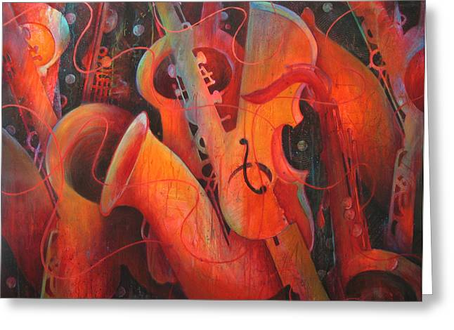 Double Bass Greeting Cards - Saxy Cellos Greeting Card by Susanne Clark