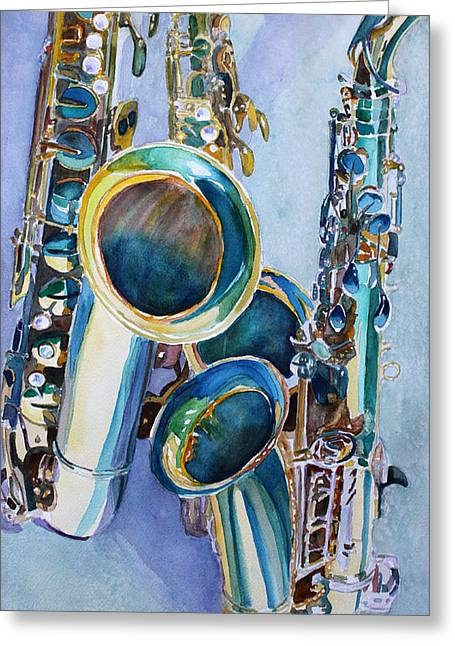 Trio Greeting Cards - Saxy Trio Greeting Card by Jenny Armitage
