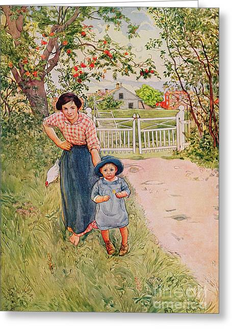 Cheery Greeting Cards - Say a Nice How Do You Do to Your Uncle Greeting Card by Carl Larsson