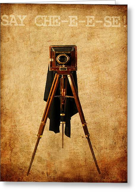 Old Camera Mixed Media Greeting Cards - Say Che-e-e-se Greeting Card by Alla Albert