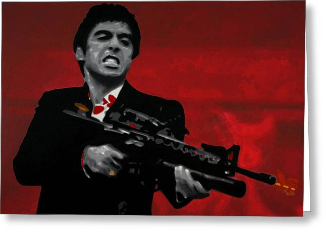 Tony Montana Greeting Cards - Say Hello To My Little Friend  Greeting Card by Luis Ludzska