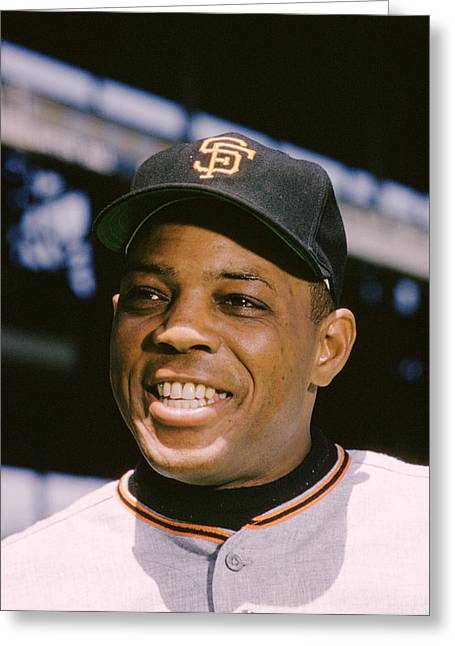 National League Baseball Photographs Greeting Cards - Say Hey Willie Mays Greeting Card by Retro Images Archive