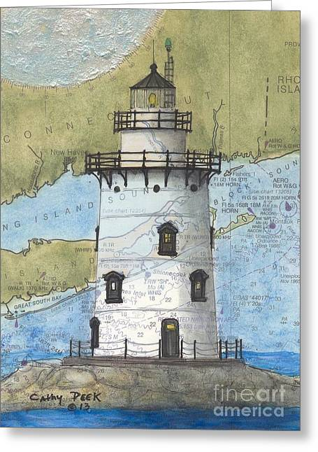 Recently Sold -  - New England Ocean Greeting Cards - Saybrook Lighthouse CT Chart Map Art Greeting Card by Cathy Peek
