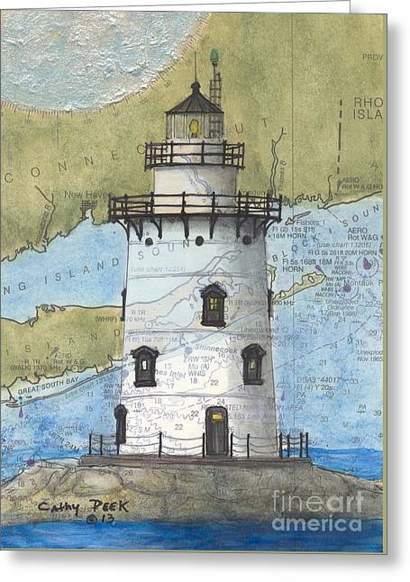Saybrook Greeting Cards - Saybrook Lighthouse CT Chart Map Art Greeting Card by Cathy Peek
