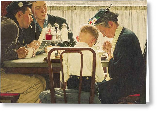 Norman Drawings Greeting Cards - Saying Grace by Norman Rockwell Greeting Card by Nomad Art And  Design