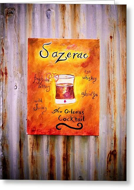 Sazerac Cocktail On Canvas Greeting Cards - Sazerac on Rust Greeting Card by Marian Hebert