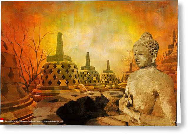 Historic Statue Paintings Greeting Cards - Sborobudur Temple Compounds Greeting Card by Catf
