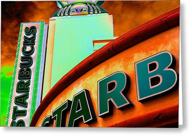 Las Vegas Art Greeting Cards - Peekaboo Starbucks Greeting Card by David Lee Thompson