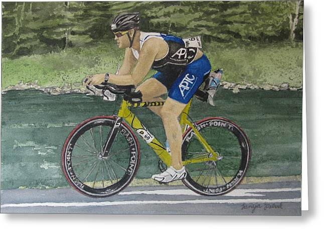Ironman Paintings Greeting Cards - S.C. Cycling in Ironman Tremblant Greeting Card by Tanya Petruk