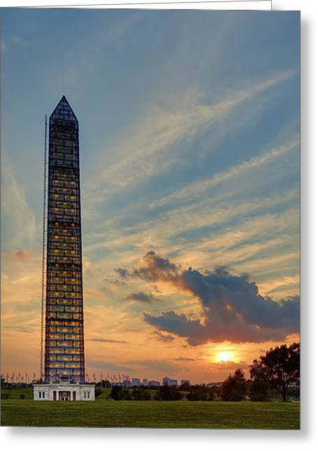 Scaffolding At Sunset Greeting Card by Metro DC Photography
