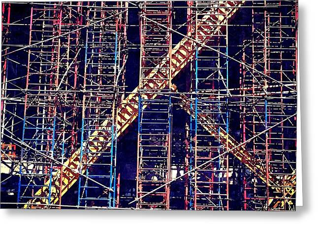Commercial Photography Paintings Greeting Cards - Scaffolding Greeting Card by Gert J Rheeders