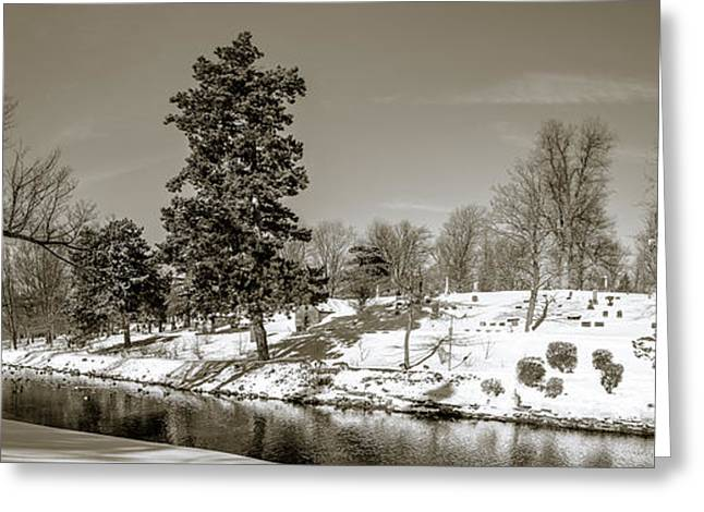 Beautiful Creek Greeting Cards - Scajaquada creek through Forest Lawn - BW Greeting Card by Chris Bordeleau