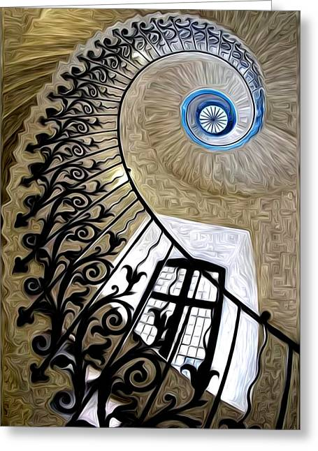 Spiral Staircase Paintings Greeting Cards - Scala per il paradiso Greeting Card by Ralph Moretti