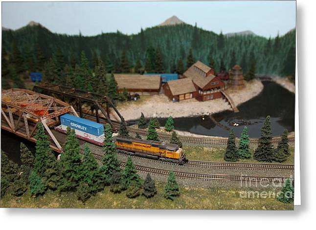 Union Pacific Greeting Cards - Scale Model Trains 5D21860 Greeting Card by Wingsdomain Art and Photography