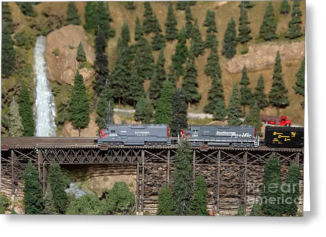 Southern Pacific Greeting Cards - Scale Model Trains 5D21862 Greeting Card by Wingsdomain Art and Photography