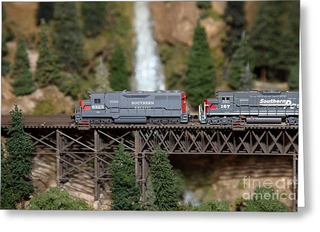 Southern Pacific Greeting Cards - Scale Model Trains 5D21863 Greeting Card by Wingsdomain Art and Photography