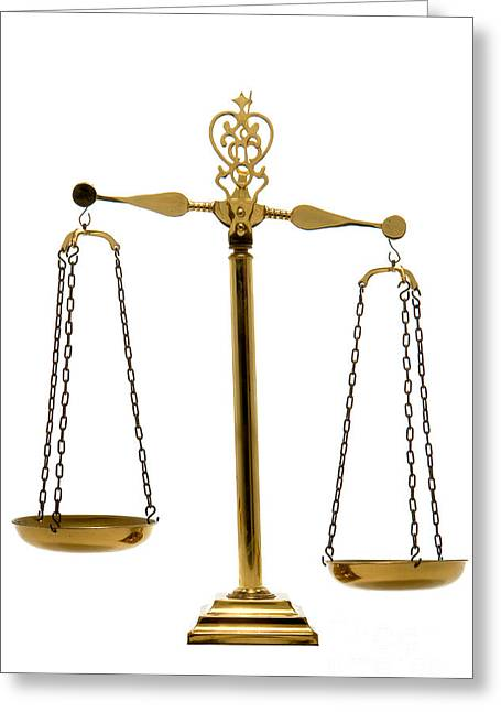 Scale Greeting Cards - Scale of Justice Greeting Card by Olivier Le Queinec