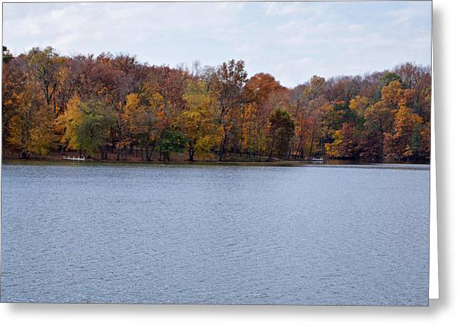 Indiana Autumn Greeting Cards - Scales Lake in Autumn Greeting Card by Sandy Keeton