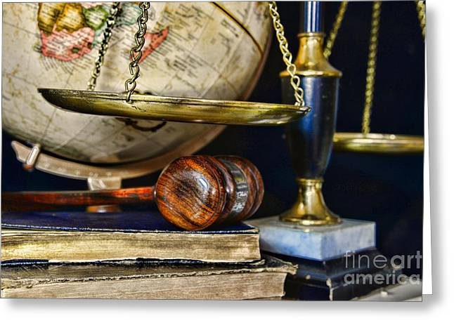 Advocate Greeting Cards - Scales of Justice Greeting Card by Paul Ward