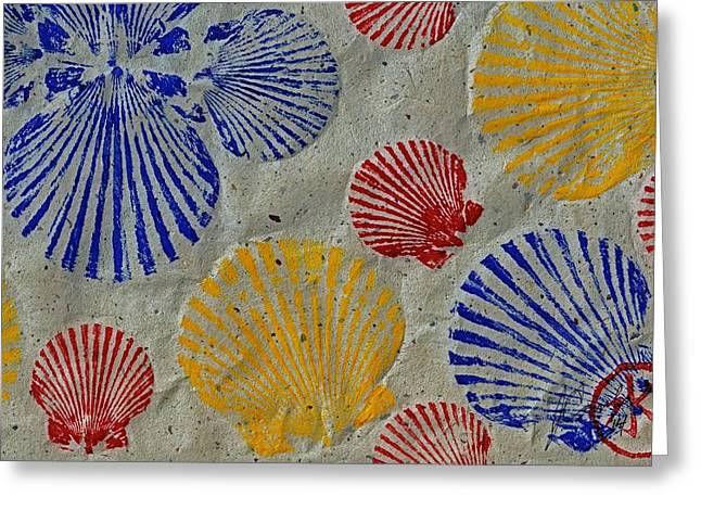Gyotaku Greeting Cards - Scallops - Seafood Rainbow Greeting Card by Jeffrey Canha