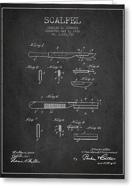Medical Greeting Cards - Scalpel patent from 1916 - Dark Greeting Card by Aged Pixel