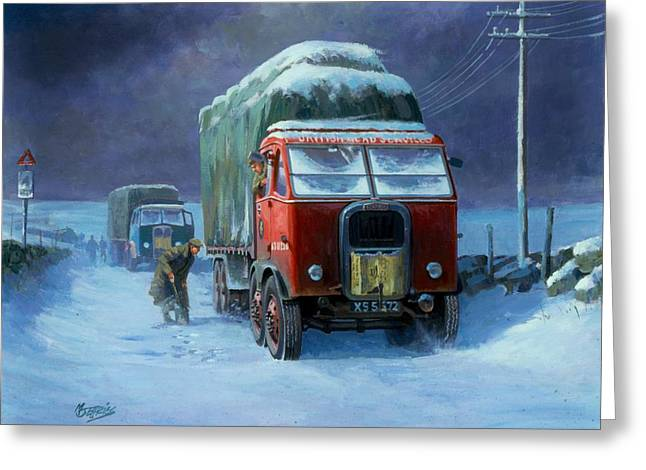Snowbound Greeting Cards - Scammell R8 Greeting Card by Mike  Jeffries