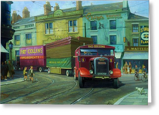 Streetscenes Paintings Greeting Cards - Scammell Showtrac Greeting Card by Mike  Jeffries