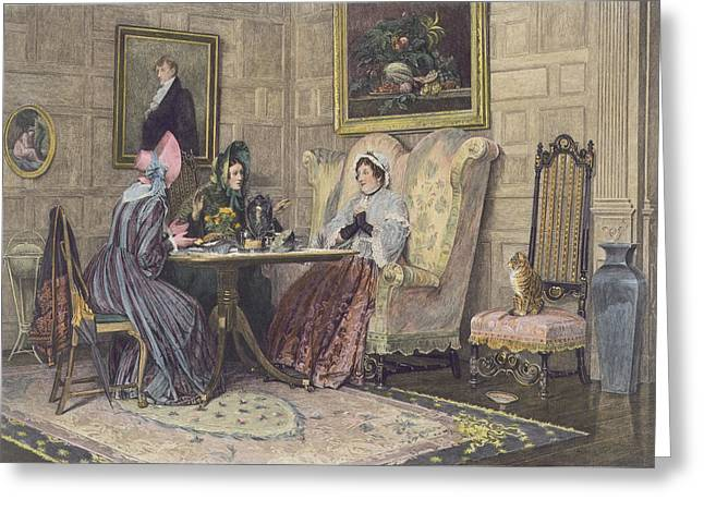 Gossip Greeting Cards - Scandal And Tea, Published 1893 Greeting Card by Walter Dendy Sadler