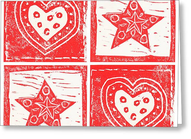 Christmas Reliefs Greeting Cards - Scandinavian Hearts and Stars Greeting Card by Lynn-Marie Gildersleeve