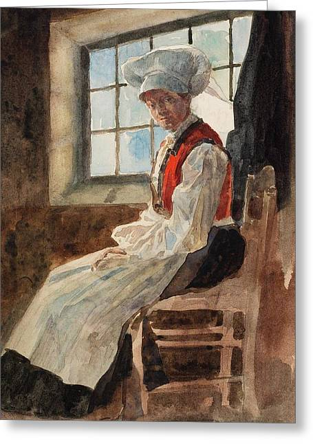 Apron Greeting Cards - Scandinavian Peasant Woman in an Interior Greeting Card by Alexandre Lunois